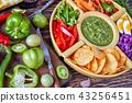 green salsa verde, mexican cuisine, top view 43256451