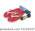 Flip-flops, sunscreen lotion and sunglasses 43256547