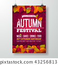 Autumn Party Flyer Illustration with falling leaves and typography design on doodle pattern 43256813