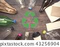 recycle symbol and plastic, paper, glass on table 43256904