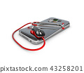 3d Illustration of Phone repair and service concept.Smartphone being diagnosed with a stethoscope 43258201
