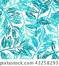 Ink hand drawn seamless pattern with laurel branches 43258293