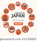 Japan Travel and Tourism Concept Card Round Design. Vector 43258865