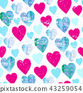 Watercolor hearts seamless pattern Valentines day texture 43259054
