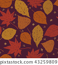 Autumn ink hand drawn leaves seamless pattern 43259809