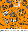Vector seamless pattern with Halloween holiday symbols 43259814