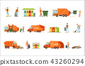 Garbage Collector At Work Set Of Illustrations With Smiling Recycling And Waste Collecting Worker 43260294