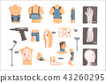 Orthopedic Surgery And Orthopaedics Attributes And Tools Set Of Cartoon Icons With Bandages, X-rays 43260295