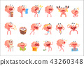 Humanized Brain Cartoon Character With Arms And Legs Funny Life Scenes And Emotions Set Of 43260348