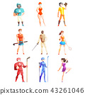 Athletic people doing various kinds of sports, professional sportsmen characters in uniform with 43261046