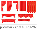 Different Types Of Theatrical Stage Curtain And Drapes In Red Velour Vector Collection 43261297