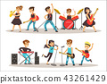 Children Musicians Performing On Stage On Talent Show Colorful Vector Illustration With Talented 43261429