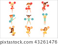 Primary School Little Girls In Cheerleaders Uniform Cheering And Cheerleading With Pompoms Set Of 43261476