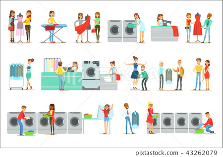 People At The Laundry, Dry Cleaning And Tailoring Service Set Of Smiling Cartoon Characters 43262079