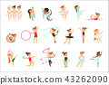 Little Girls Doing Gymnastics And Acrobatics Exercises In Class Set Of Future Sports Professionals 43262090