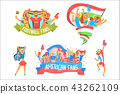 Cheering Happy Crowds Of National Sport Team Fans And Devotees With Banners And Attributes 43262109