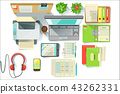Office Worker Desk With Utilities And Stationary Including Lap Top Files Printer 43262331