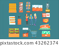 People Shopping For Groceries In Supermarket Surrounded By Shop Attributes Set Of Illustrations 43262374