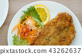 battered fish steak with salad and vegetable 43262637