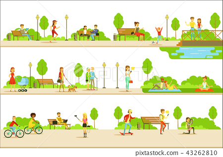 People Different Activities Outdoors Set Of Illustrations 43262810