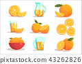 Oranges And Orange Juice Cool Style Bright Illustrations 43262826