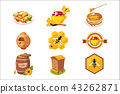 Honey And Related Food Label Set Of Illustrations 43262871