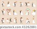 Newlyweds Posing And Dancing On The Wedding Party Set Of Scenes 43262881
