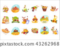 Farm Products And Animals Set Of Bright Stickers 43262968