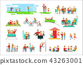 Happy Family Having Good Time Together Set Of Illustrations 43263001