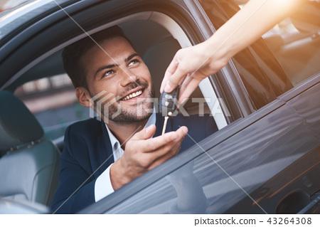 Key Car Dealership >> Car Dealership Young Man Receiving Car Key From Stock