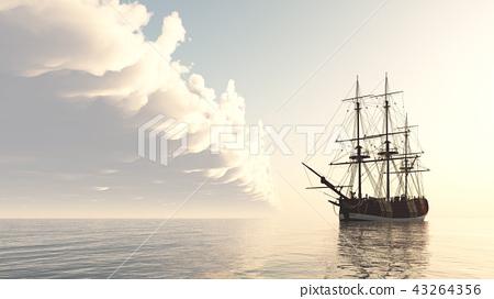 Sailing ship at anchor 43264356