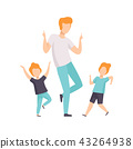 Two boys and dad dancing, children having fun with their father vector Illustration on a white 43264938