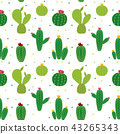 Cactus Icon Collection Seamless Pattern Background Vector Illustration 43265343