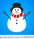 Funny Snowman on blue background. Vector. 43265649