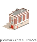 Flat 3d model isometric fire station isolated 43266226