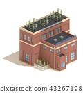Flat 3d model isometric red brick power station 43267198