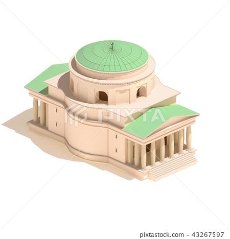 Flat 3d model isometric Christian church icon - Stock Illustration
