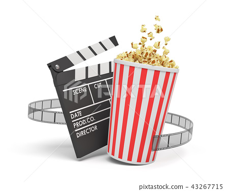 3d rendering of a full popcorn bucket standing near an empty clapperboard and a film strip on white 43267715