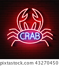 Crab Sign with Neon Light Glowing  43270450