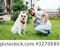 White fluffy husky wearing sunglasses and bandana 43270680