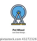 Pet Wheel Line Color Icon 43272326