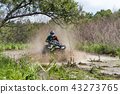 ATV Quad rides fast on big dirt and makes splashes of dirty water 43273765