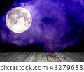 Night sky with stars and full moon, wooden planks 43279688