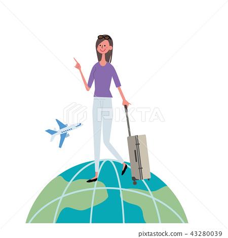 出國旅行的婦女的例證 43280039