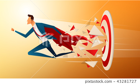 Super businessman running and breaking target archery to Successful vector. Business superhero 43281727