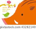 돼지띠 연하장 멧돼지와 휘파람새 43282140