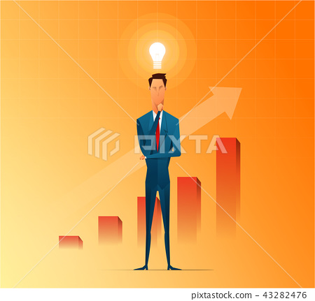 Businessman thinking and getting ideas to success business, cartoon flat vector background 43282476