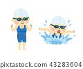 一个女人游泳 43283604