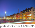 Copenhagen night city skyline at Nyhavn, Denmark 43283695