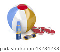 Beach accessories on white background 43284238
